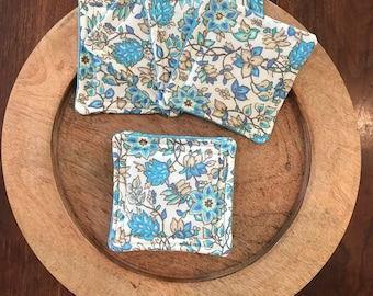 Floral fabric coasters, fabric coaster set, set of 8, quilted fabric coasters, mother's day gift, hostess gift, bridal shower gift,