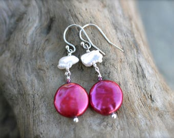Magenta Pink Coin Pearl, White Keishi Pearl, Sterling Silver Earrings, Pearl Jewelry, Freshwater Pearl Earrings, Red and White Pearl Drops