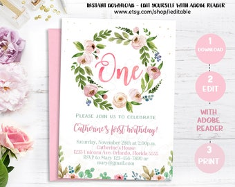 Floral First Birthday Invitation, Boho Invitation, Girl 1st Birthday, Flowers Invite, Printable Digital, Editable Template Instant download