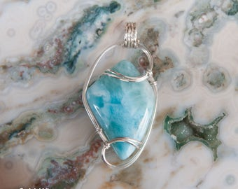 Ocean Blue Larimar Wire Wrapped Stone Pendant, Sterling Silver Wire Wrapped Pendant, The Dolphin Stone, Larimar Pendant, Stone Wire Wrap