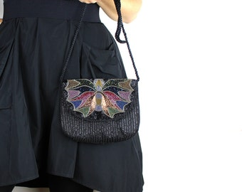 Vintage Fully Beaded Purse - Black Wine Red Midnight Blue Forest Green Bronze Gunmetal Beads