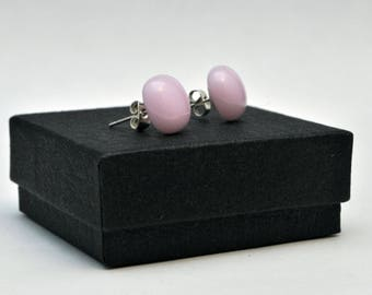 Light pink fused glass stud earrings
