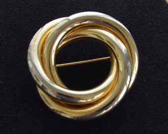 Pretty Vintage Gold tone Classic Knot Brooch, Pin, (AR13)