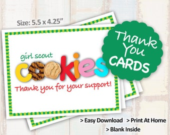 Sale! 2018 Girl Scout Cookie THANK YOU CARD Blank Note Cards Printables 2/page 8.5x11 Printable Cookie Booth Decor Supplies -->On Sale!<--