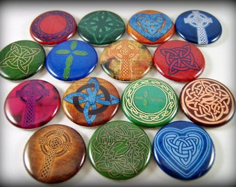 "1"" Flat Back Multicolor Celtic Button Cabochons, 12 Count"