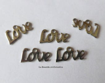 Lot 5 Word Love stainless steel charms