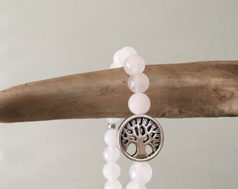 White Jade bracelet with a Tree Of Life charm