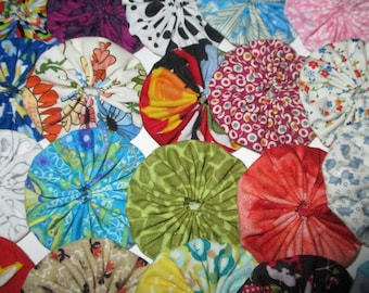 Fabric YoYos, 20 Multi Color Prints And Solids, 2 Inch Size, Crafting, Appliques, Embellishments