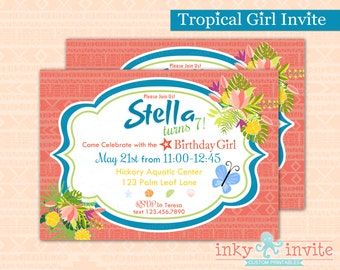 Tropical Girl Birthday Party Invitation | Birthday Girl Party Invite | Girl Summer Invitation for Birthday | Pool Party Invite