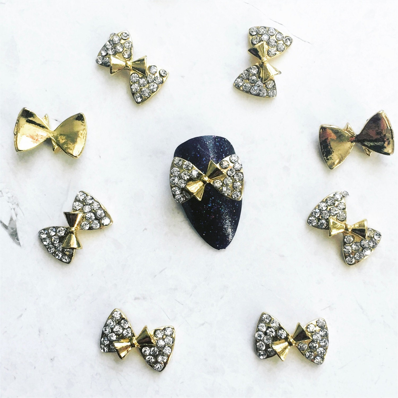 2 Luxe CrystalBow Nail Charms - Kawaii - DIY Nail Art - Nail ...