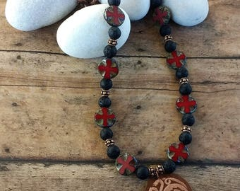 Game of Thrones House Targaryen Sigil Necklace with Czech Glass and Lava Beads