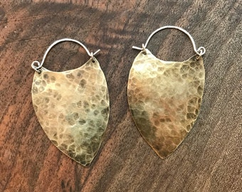 Hammered bronze shield earrings