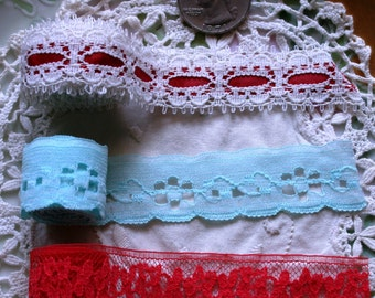 3 Multi Colored Lace 1 Yard Each