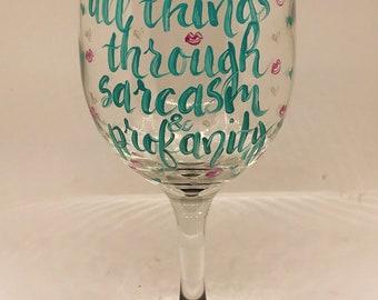 Profanity wine glass