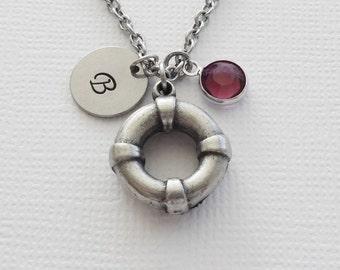 Lifebuoy Necklace Life Preserver Nautical Navigation Jewelry Swarovski Birthstone Silver Initial Personalized Monogram Hand Stamped