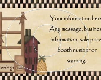 PRIMITIVE BUSINESS CARD, Customized with your information, Crow, Pineapple, Ladder, Salt Box House, Standard forms, 3.5 x 2 in each