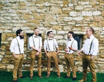 5 Mens Bowties in Brown Linen, Groomsmen Bow Tie, Groom Bow Tie, Wedding Bow Tie, Rustic Wedding, Adjustable Bow Tie