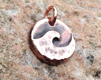 Small Copper Wave Pendant, Ocean Charm, Beach Jewelry, Summer Jewelry, Surfer, Water Lover Gift, Hand Hammered Copper