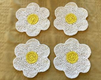 White Daisy Crochet Dishcloths - Set of 4 (READY TO SHIP!)