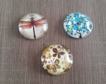 Set of 3 Cabochons - 20 mm - Dragonfly - Butterfly - tree of life - 0 70cts piece