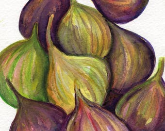 Fig Watercolor Painting original, Small Fruit Artwork. Kitchen Wall Art, figs watercolors paintings, fruit art 5 x 7 Farmhouse Decor