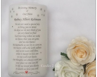 Remembrance Candle - Personalised Memorial Candle - In Loving Memory - Absence candle - Wedding Candles