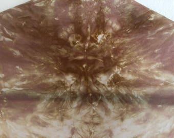 Woodland creature, neutral, hand dyed, 100% silk scarf/shawl.