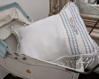 Smocked and Embroidered Baby Pillow Case