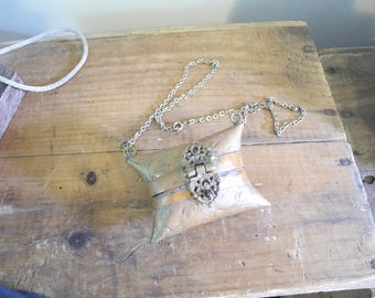 Lovely Brass Pillow Coin Purse Necklace. Steampunk Necklace. Romantic Necklace pendant. Secret Locket Purse.