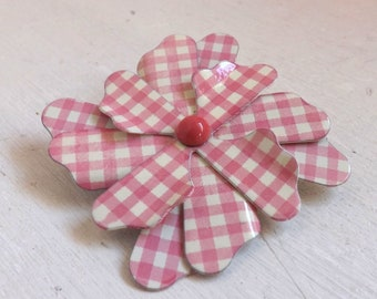 Vintage rare gingham enamel flower brooch or pin baby pink or blush and white checked pattern with pink center