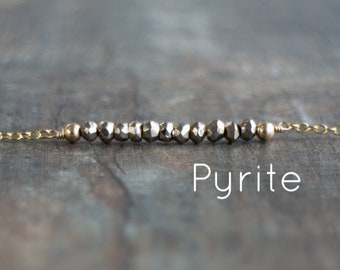Pyrite Necklace, Gemstone Bar Necklace, Mom Gift, Wife Gift, Healing Crystal Necklace, Pyrite Jewelry, Gemstone Jewelry, Stone Bead Necklace