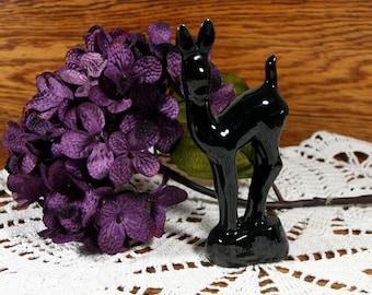 Glossy black deer figurine-vintage ceramic figure-retro collectible
