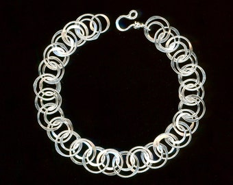 Bracelet Chain Link Sterling Silver Circle Chainmaille Wire Jewelry Geometric Bracelet Silver Jewelry Gifts