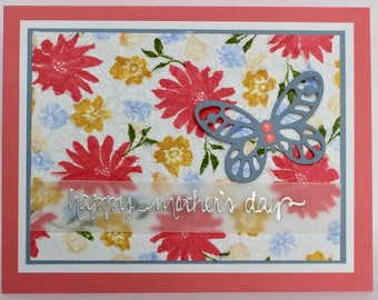 Pink Floral and Butterfly Mother's Day Card