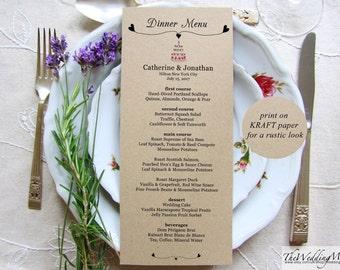 Printable Menu Kraft Menu Printable Dinner Menu Template Editable Menu Card Bar Menu Printable Instant Download Menu Card CAKE01