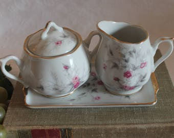 Vintage Napco Porcelain Creamer and Sugar Bowl Set with Matching Tray - White with Pink Roses, C - 5418