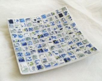 Fused glass dish with floral chintz mosaic design in blue, green and white