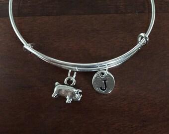Pig initial bracelet - pig jewelry, farm bracelet, farm animal jewelry, FFA jewelry, animal jewelry, 4H bracelet, silver pig bracelet