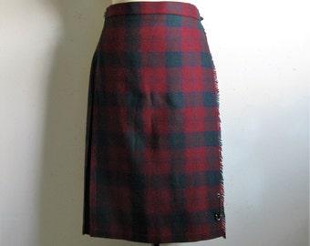 Vintage 1980s Wrap Kilt Burgundy Navy Blue Plaid Scottish Tartan Wool Blend Midi Skirt 14