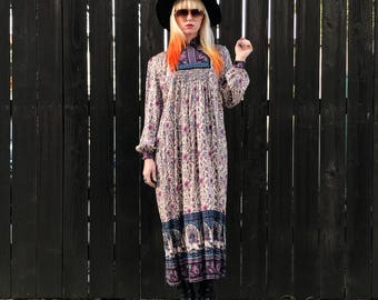 Vintage Indian Dress- Gauze Dress- Made in India- Boho Clothing- Festival Clothing- Long Sleeve Cotton Dress- Hippie Clothes- XS SM