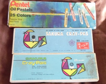 3 Boxes of Vintage Oil Pastels Used but Still Workable