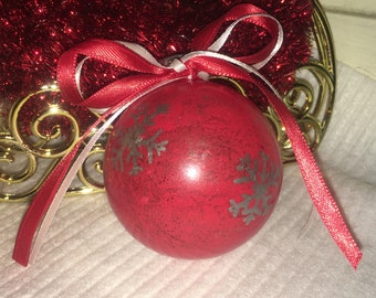 Red Ornament with Silver Snowflakes