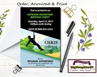Zipline invitation custom printable teen girl birthday party zip lining ziplining zip line or outdoor adventure birthday party invitation personalized printable stopboris Gallery