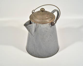Vintage Enamel Granite Ware Campfire Cowboy Coffee Pot, Large Antique Gray Camping Coffee Pot, Enamelware Pot, Rustic Country Home Decor