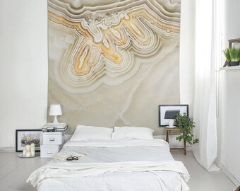 Mineral photography cloth wall hanging, Agate art wall tapestry, Cool wall art, Polyester, Beige, Original print, Bedroom decor boho. MW110