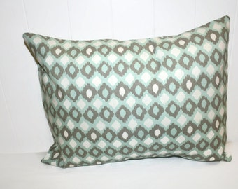 Decorative Home Essentials 12x16 Teal and Tan Geometrical  Pillow Cover
