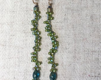 Green and Blue Beaded Squiggle Drop Woven Earrings GF