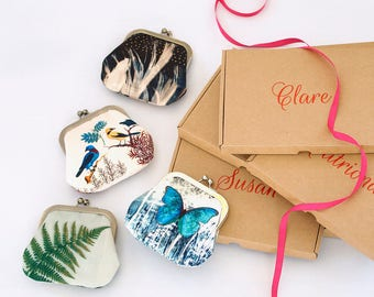Custom boxed coin & card purse, customise name, original wallet pouch, bird, butterfly, succulent, feather