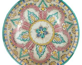 Spanish Large Ceramic Tin Glaze Center Bowl