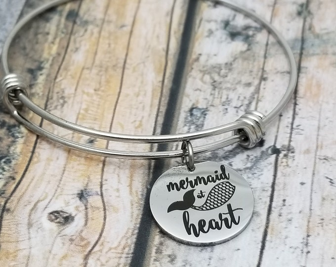 Mermaid at Heart Customizable Expandable Bangle Charm Bracelet, choose your charms, create your style, design your bracelet,